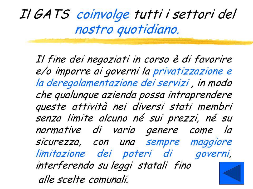 Il GATS coinvolge tutti i settori del nostro quotidiano.