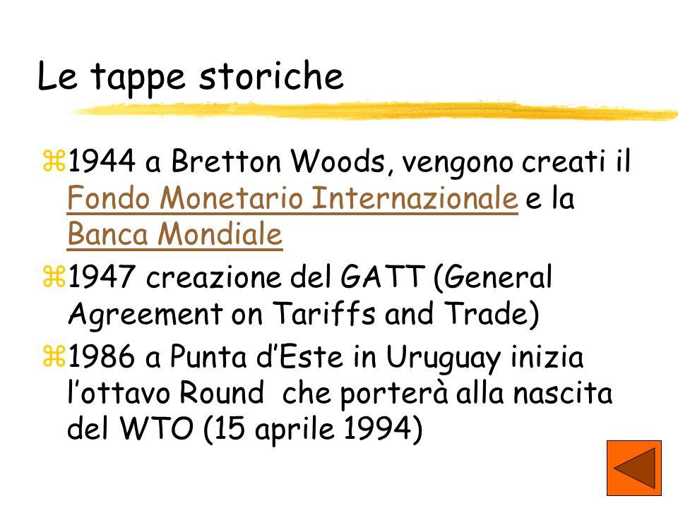 Le tappe storiche 1944 a Bretton Woods, vengono creati il Fondo Monetario Internazionale e la Banca Mondiale.