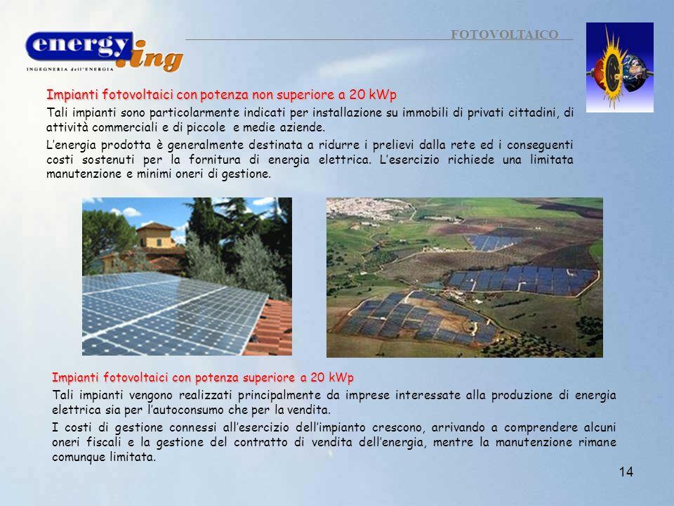Impianti fotovoltaici con potenza non superiore a 20 kWp