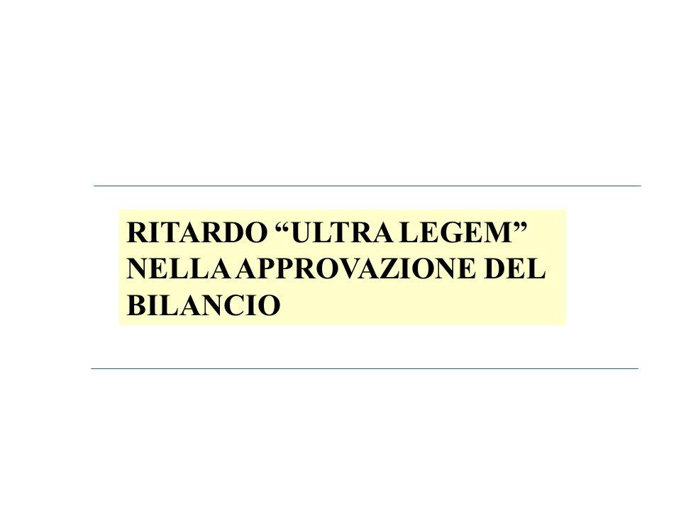 RITARDO ULTRA LEGEM NELLA APPROVAZIONE DEL BILANCIO