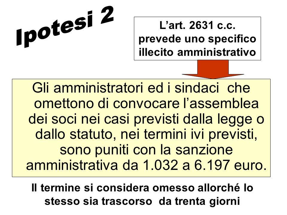 L'art. 2631 c.c. prevede uno specifico illecito amministrativo