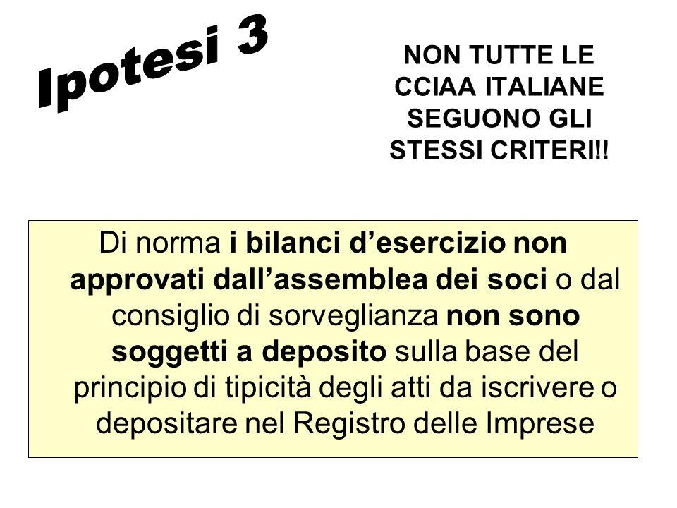 NON TUTTE LE CCIAA ITALIANE SEGUONO GLI STESSI CRITERI!!