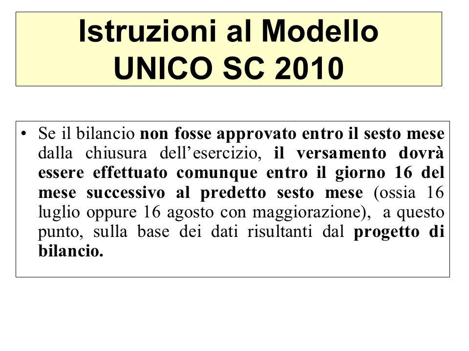 Istruzioni al Modello UNICO SC 2010