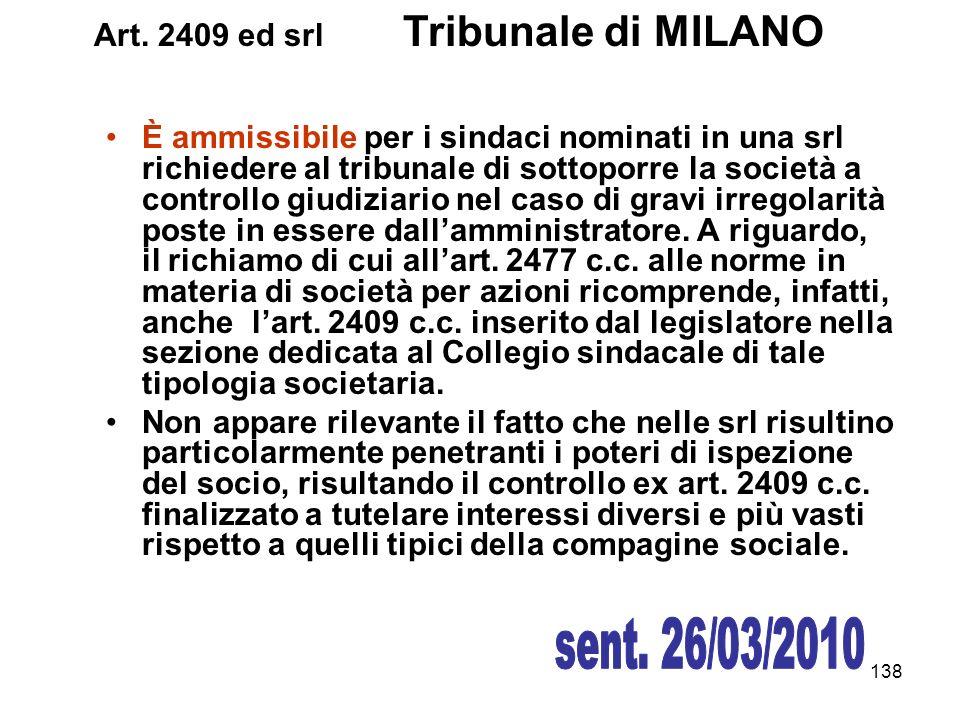 Art. 2409 ed srl Tribunale di MILANO