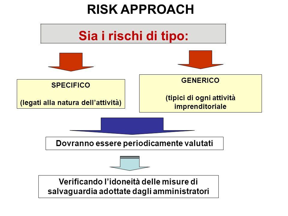 RISK APPROACH Sia i rischi di tipo: