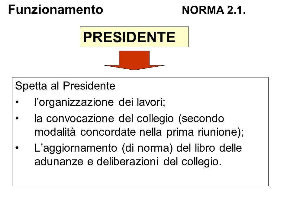 PRESIDENTE Funzionamento NORMA 2.1. Spetta al Presidente