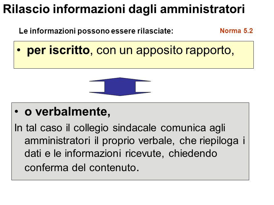 Rilascio informazioni dagli amministratori