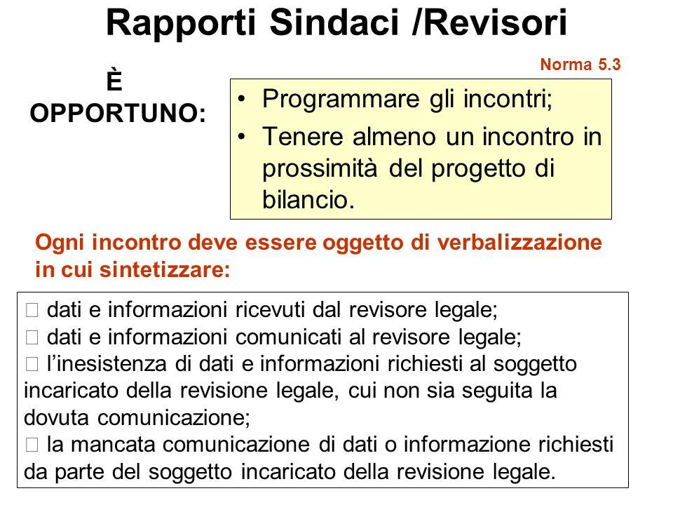 Rapporti Sindaci /Revisori