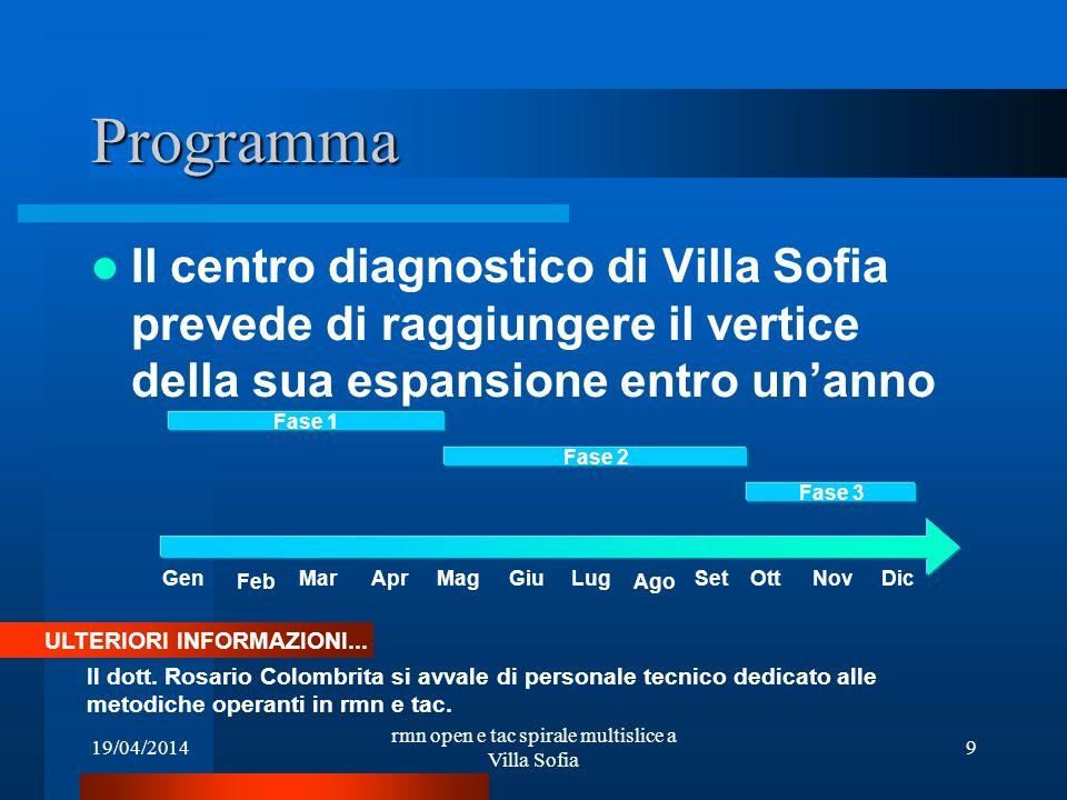 rmn open e tac spirale multislice a Villa Sofia