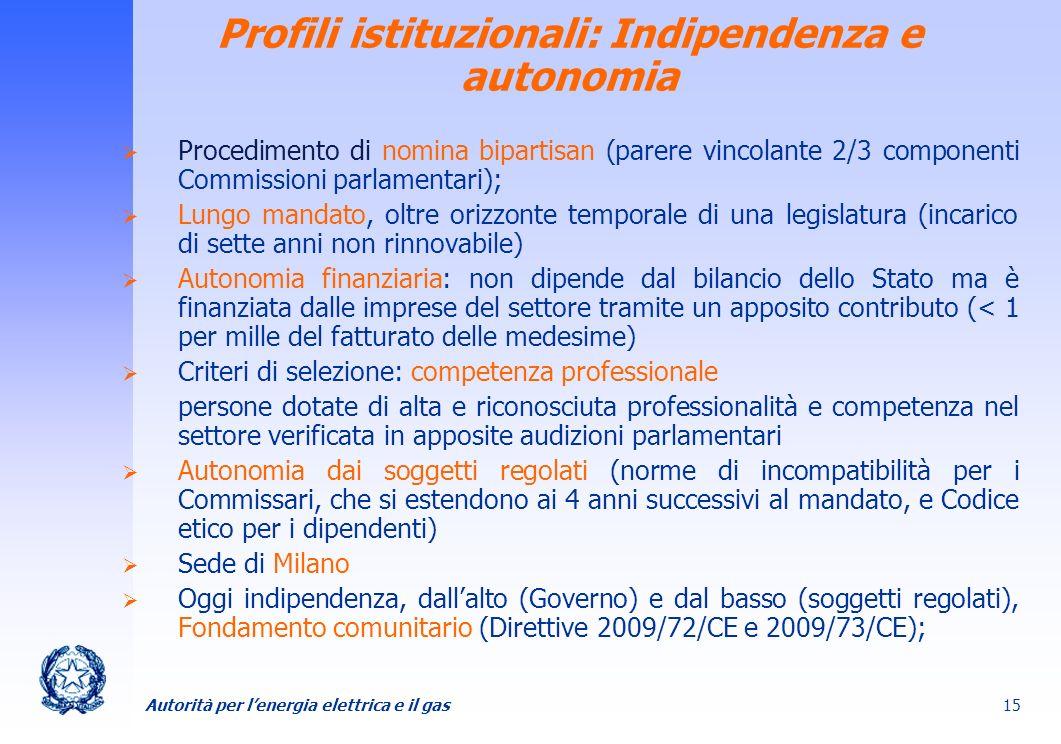 Profili istituzionali: Indipendenza e autonomia