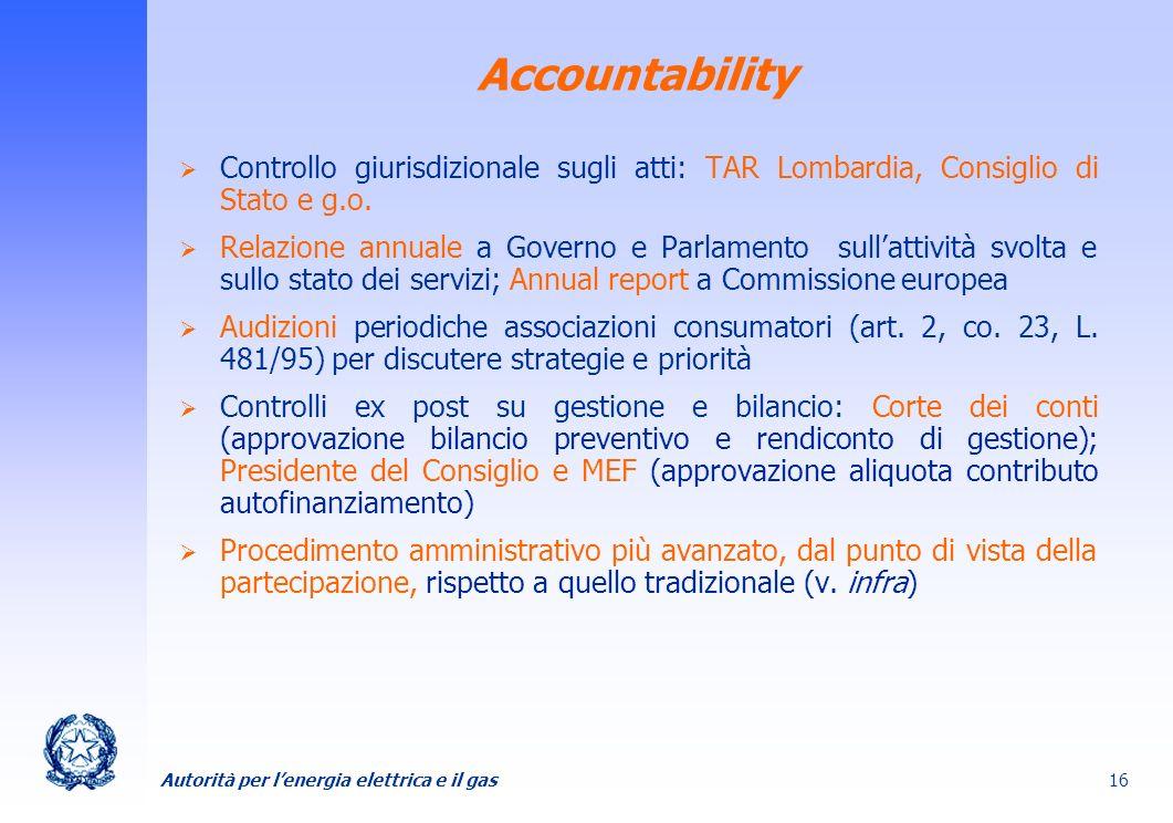 AccountabilityControllo giurisdizionale sugli atti: TAR Lombardia, Consiglio di Stato e g.o.