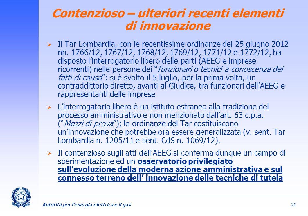Contenzioso – ulteriori recenti elementi di innovazione