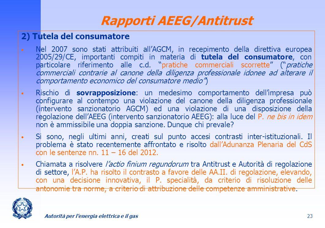 Rapporti AEEG/Antitrust