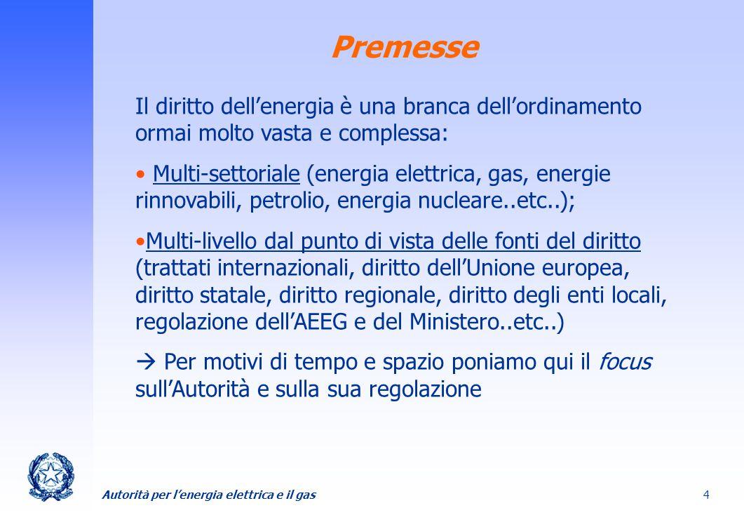 PremesseIl diritto dell'energia è una branca dell'ordinamento ormai molto vasta e complessa: