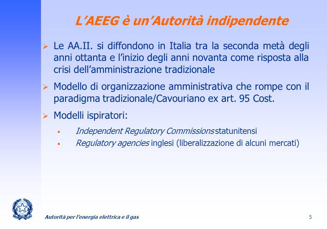 L'AEEG è un'Autorità indipendente