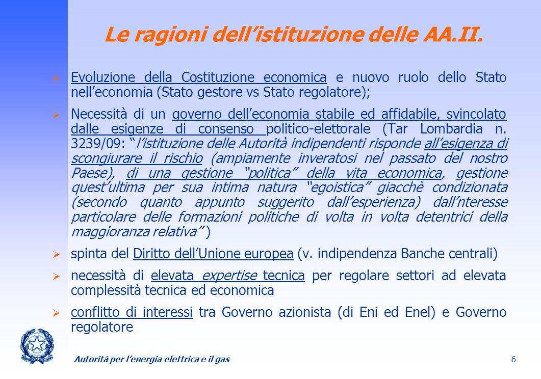 Le ragioni dell'istituzione delle AA.II.