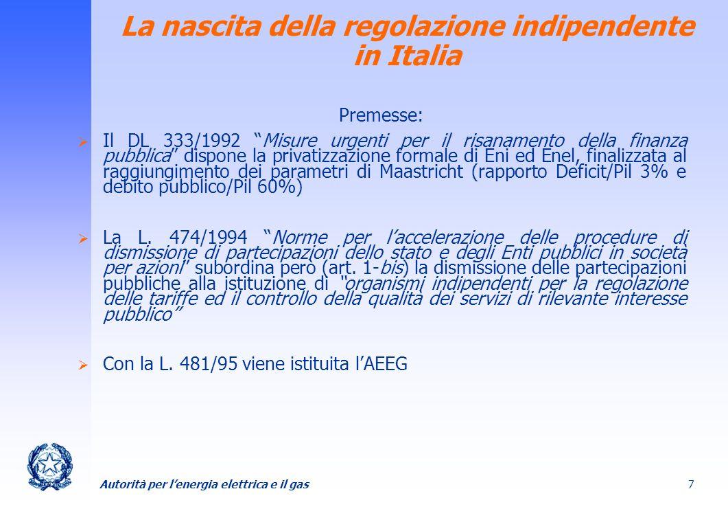 La nascita della regolazione indipendente in Italia