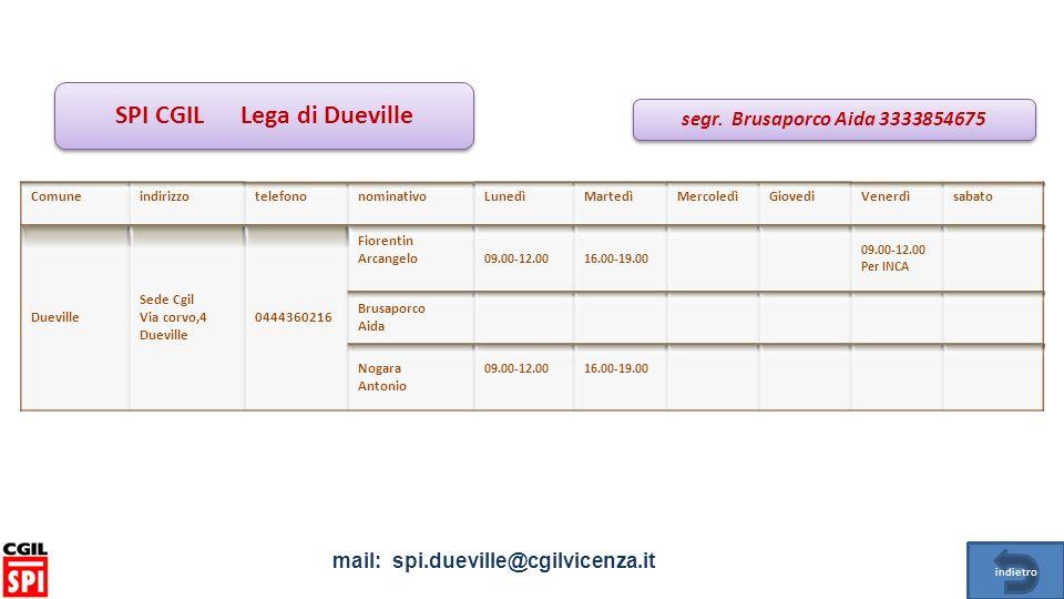 SPI CGIL Lega di Dueville mail: spi.dueville@cgilvicenza.it