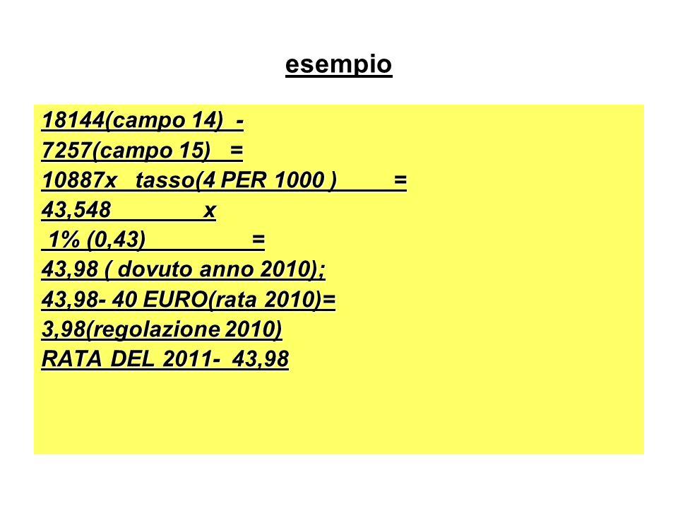 esempio 18144(campo 14) - 7257(campo 15) = 10887x tasso(4 PER 1000 ) =