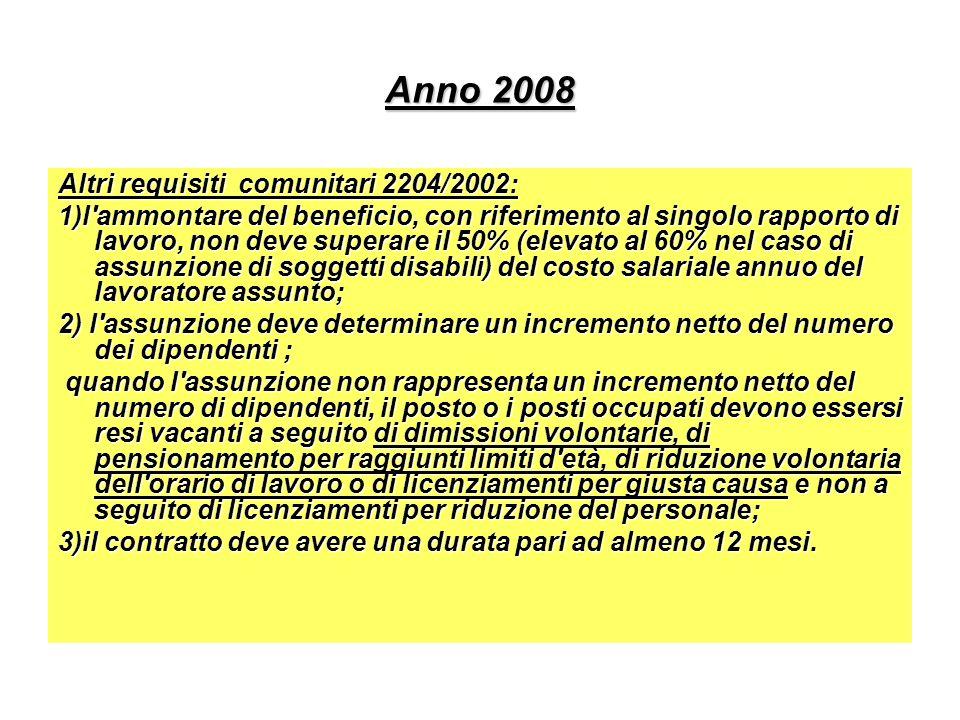 Anno 2008 Altri requisiti comunitari 2204/2002: