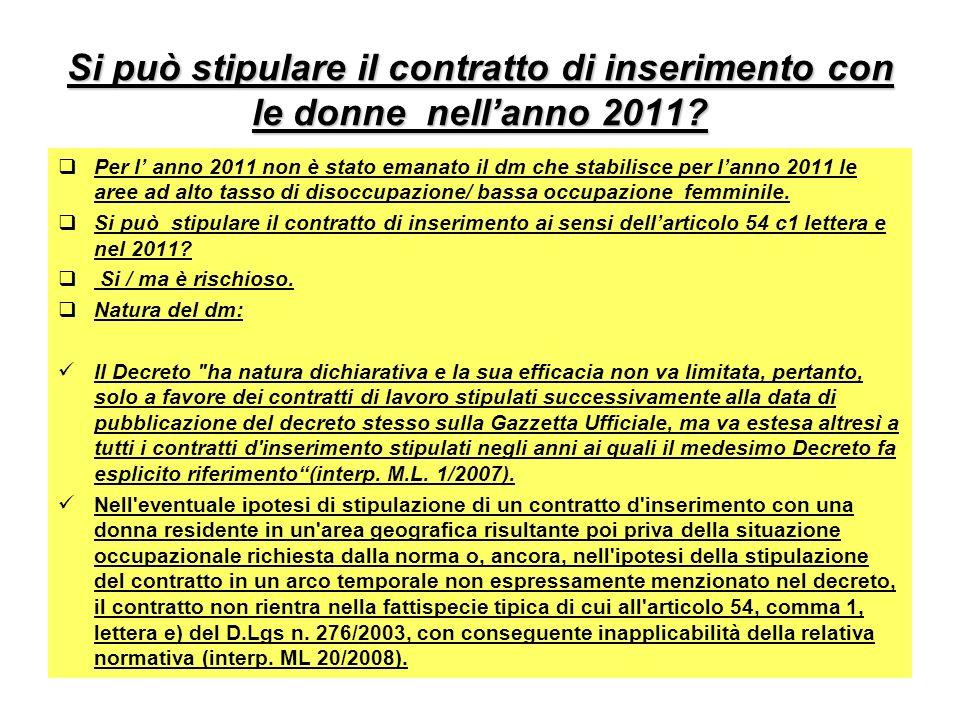 Si può stipulare il contratto di inserimento con le donne nell'anno 2011