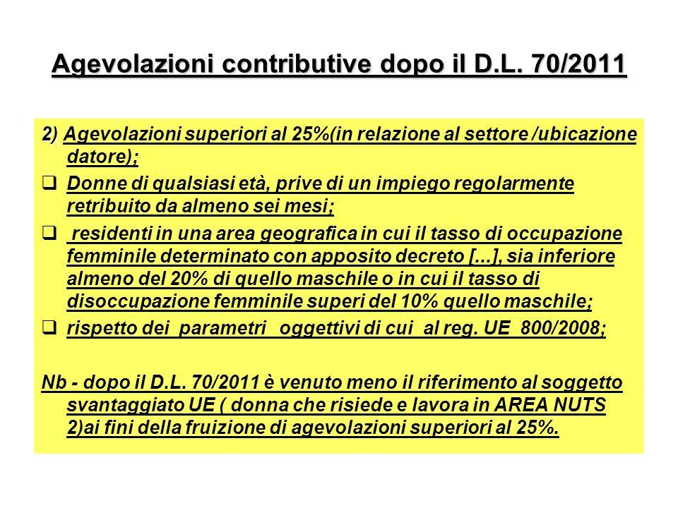 Agevolazioni contributive dopo il D.L. 70/2011