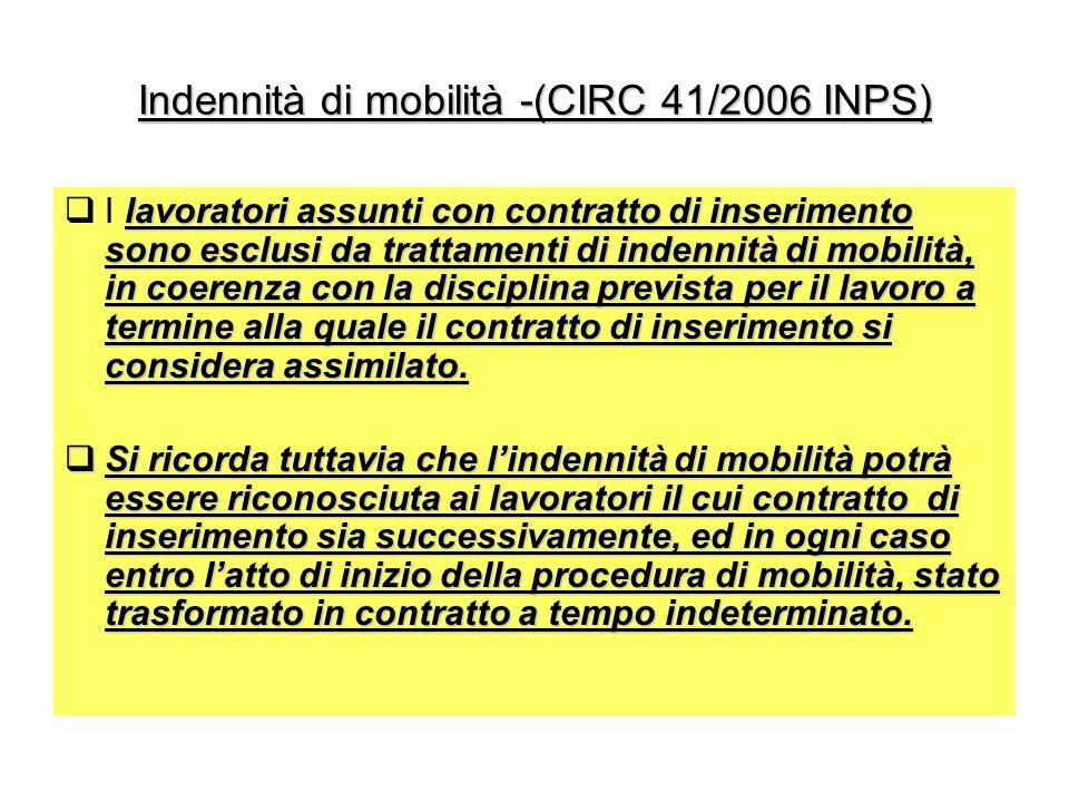 Indennità di mobilità -(CIRC 41/2006 INPS)