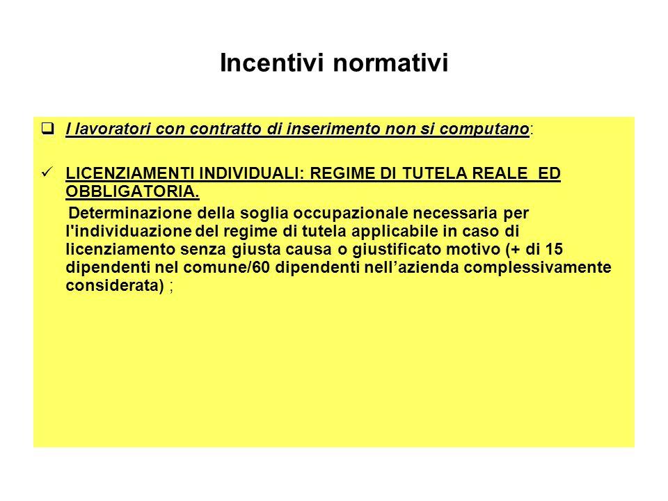 Incentivi normativi I lavoratori con contratto di inserimento non si computano: LICENZIAMENTI INDIVIDUALI: REGIME DI TUTELA REALE ED OBBLIGATORIA.