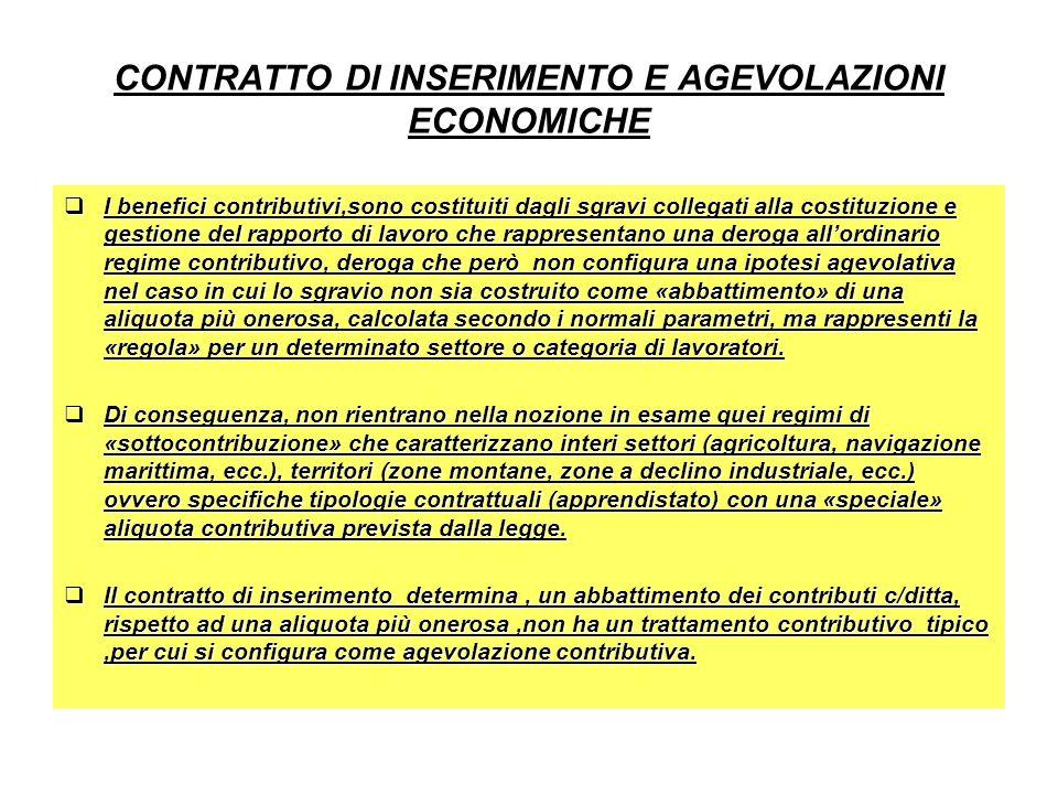 CONTRATTO DI INSERIMENTO E AGEVOLAZIONI ECONOMICHE