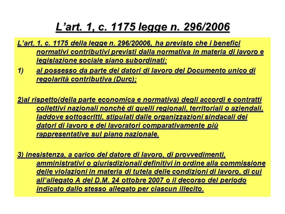 L'art. 1, c. 1175 legge n. 296/2006