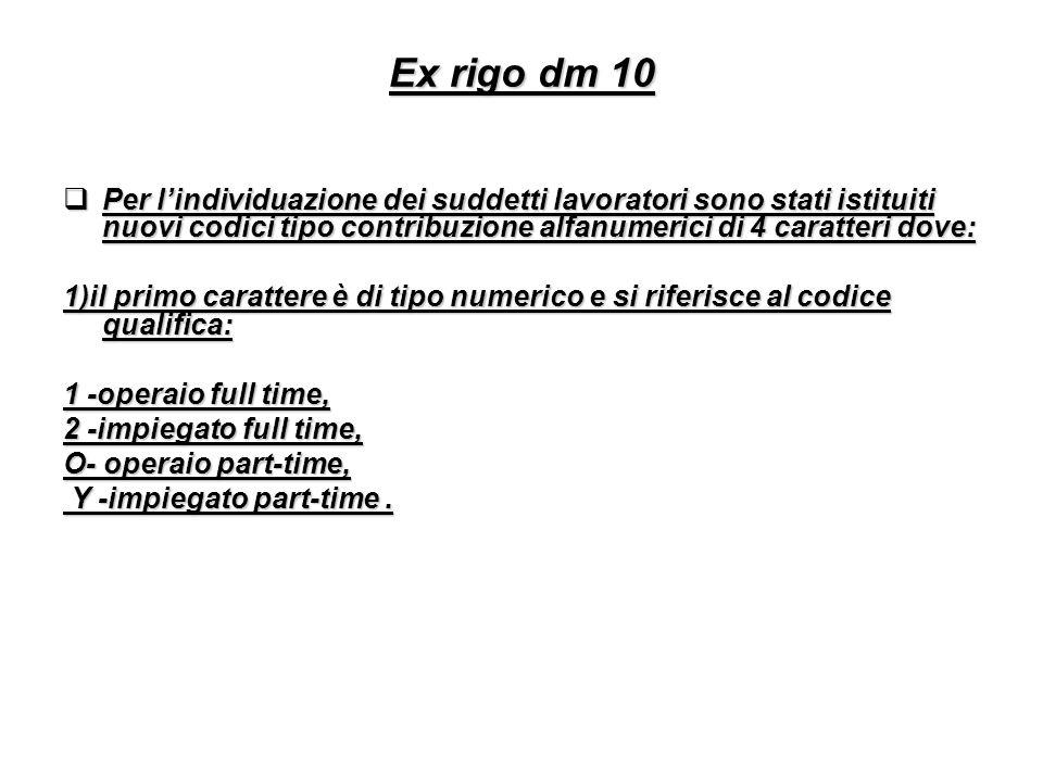 Ex rigo dm 10 Per l'individuazione dei suddetti lavoratori sono stati istituiti nuovi codici tipo contribuzione alfanumerici di 4 caratteri dove:
