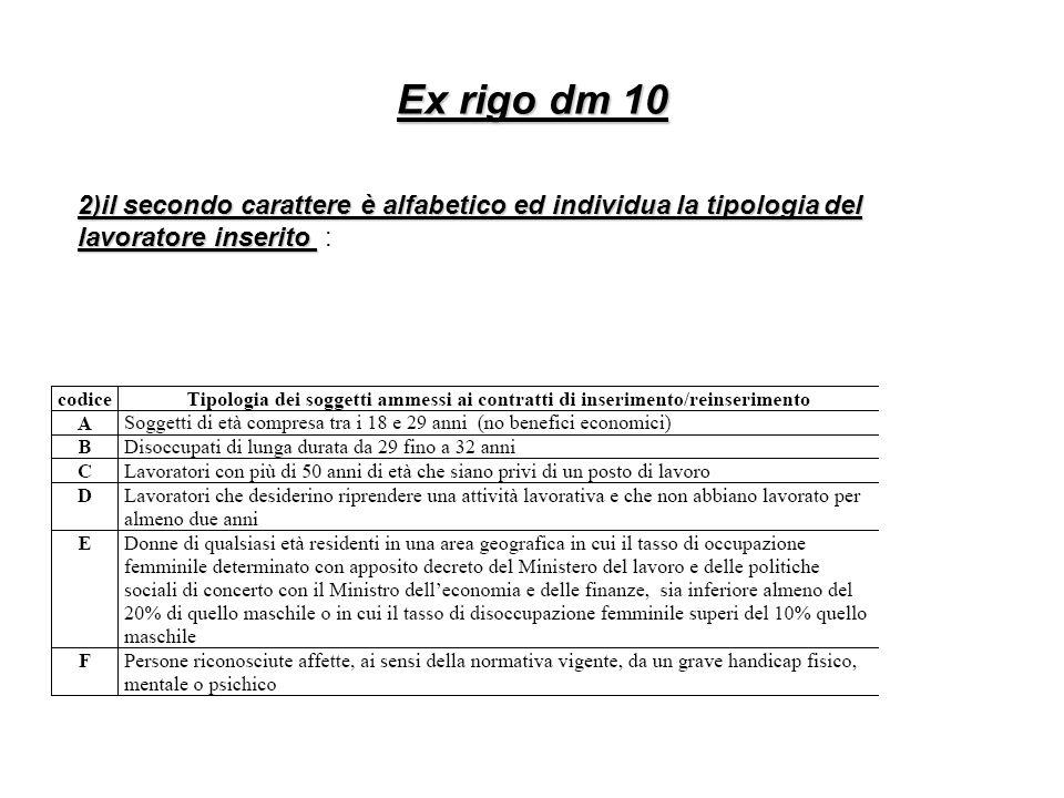 Ex rigo dm 10 2)il secondo carattere è alfabetico ed individua la tipologia del lavoratore inserito :