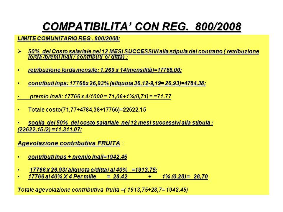 COMPATIBILITA' CON REG. 800/2008