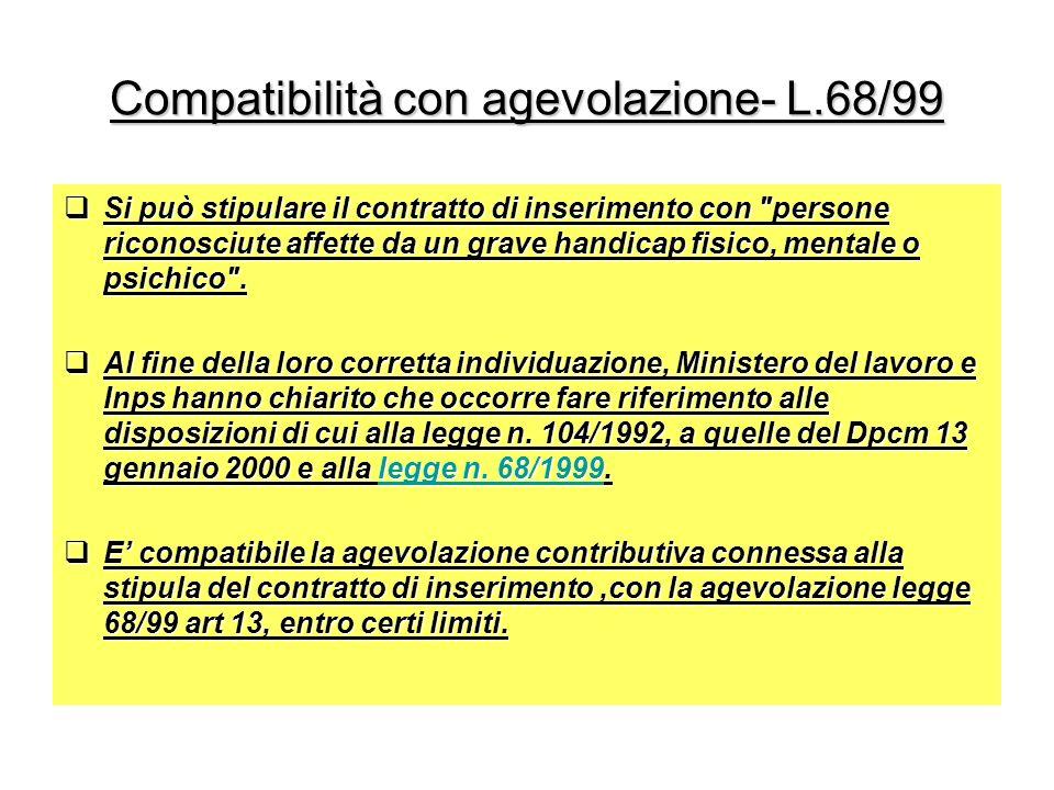 Compatibilità con agevolazione- L.68/99