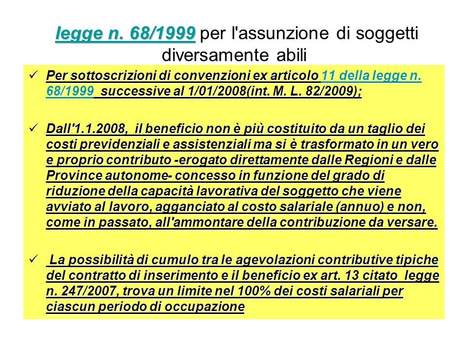 legge n. 68/1999 per l assunzione di soggetti diversamente abili