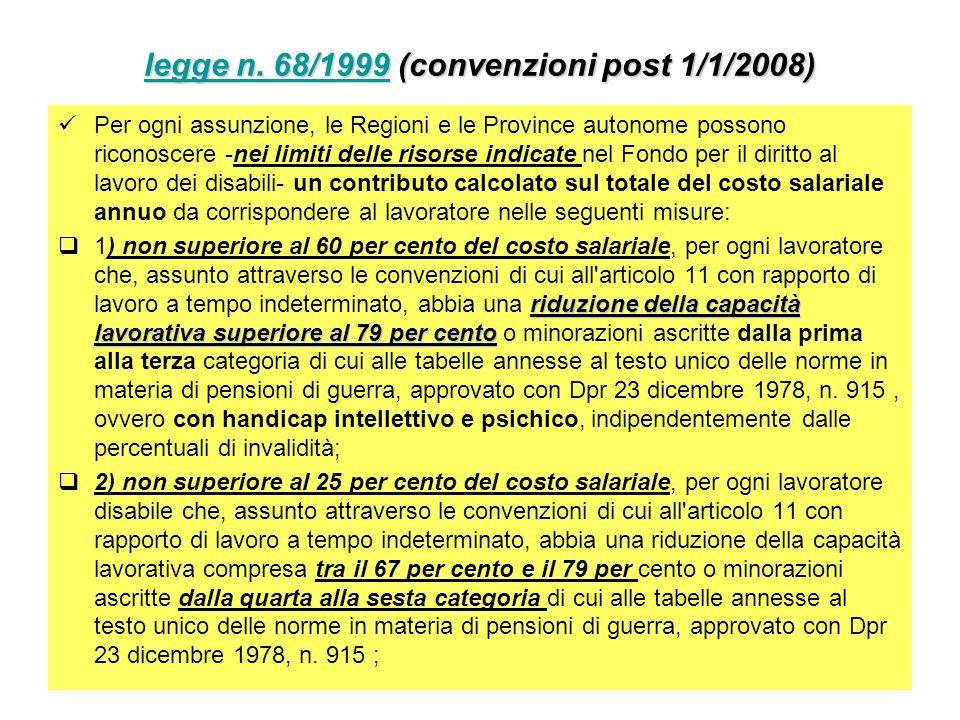 legge n. 68/1999 (convenzioni post 1/1/2008)