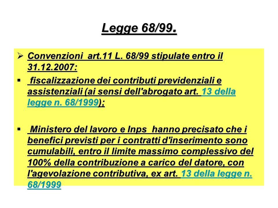 Legge 68/99. Convenzioni art.11 L. 68/99 stipulate entro il 31.12.2007: