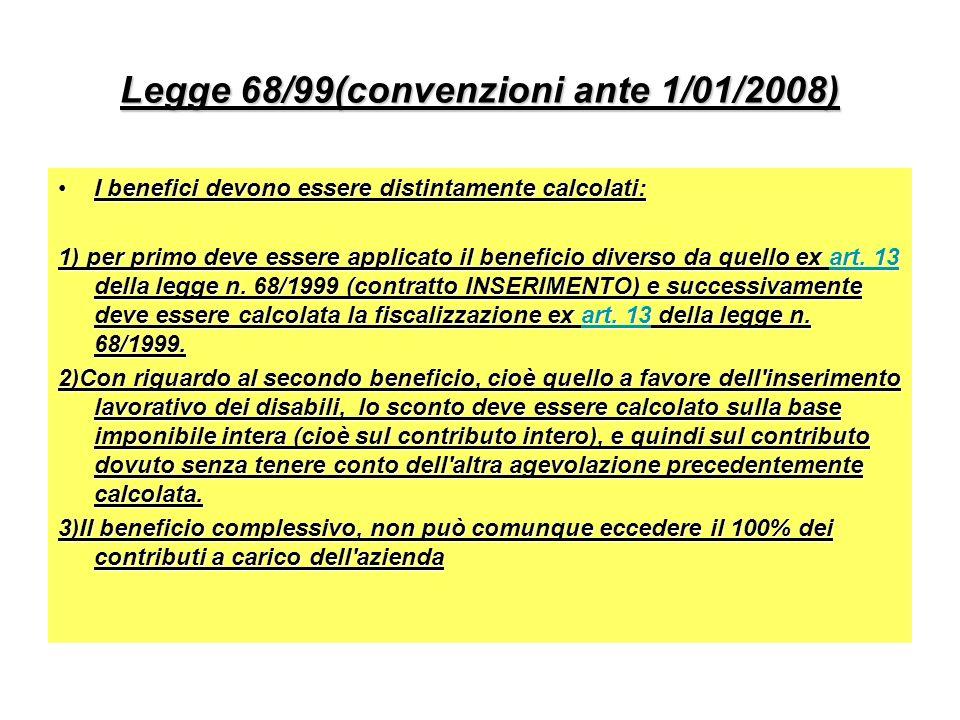 Legge 68/99(convenzioni ante 1/01/2008)