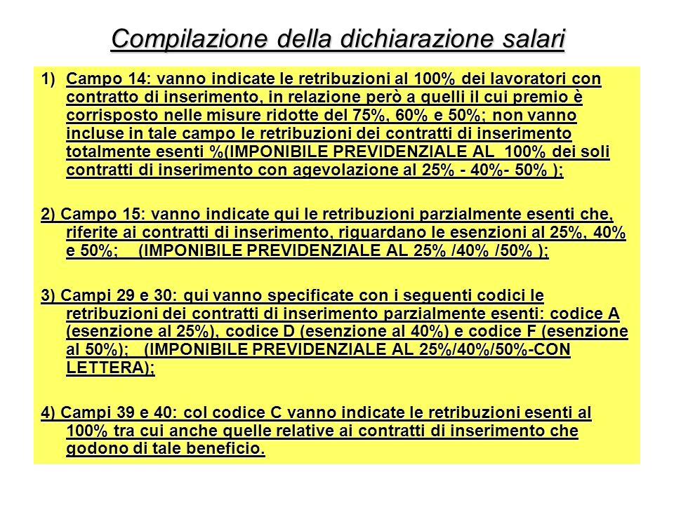 Compilazione della dichiarazione salari