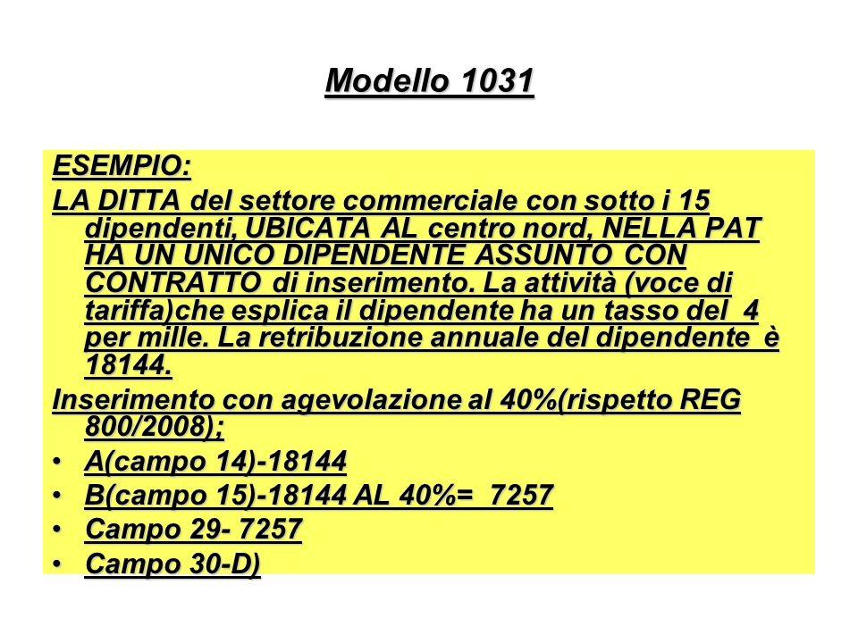 Modello 1031 ESEMPIO: