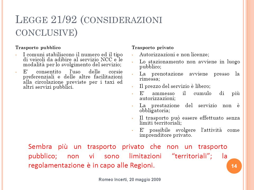 Legge 21/92 (considerazioni conclusive)