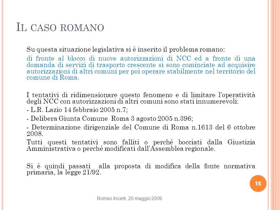 Il caso romano Su questa situazione legislativa si è inserito il problema romano: