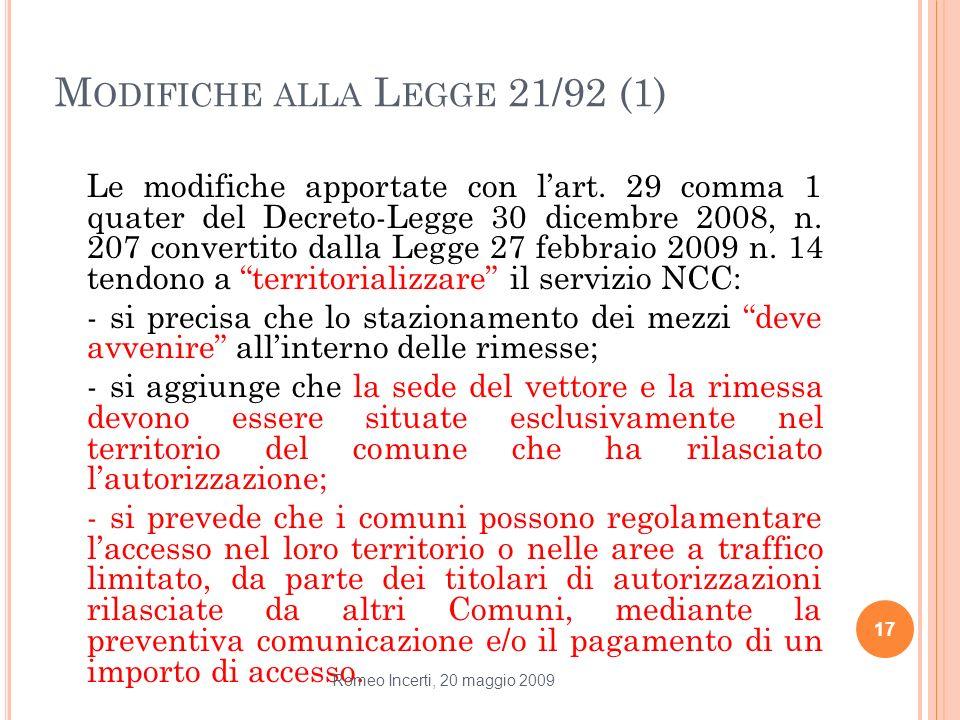 Modifiche alla Legge 21/92 (1)