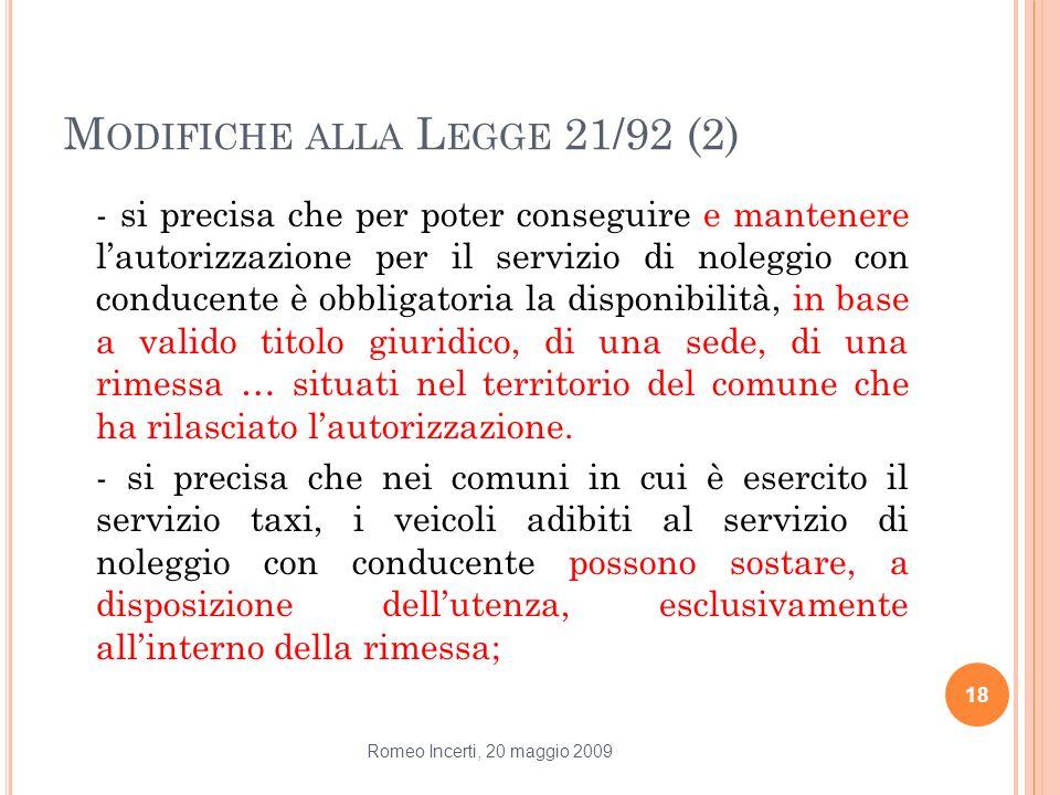 Modifiche alla Legge 21/92 (2)