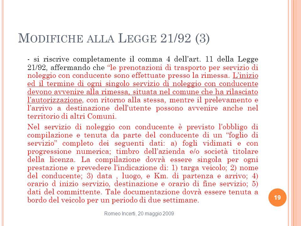 Modifiche alla Legge 21/92 (3)