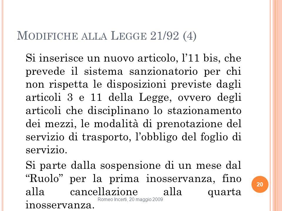 Modifiche alla Legge 21/92 (4)
