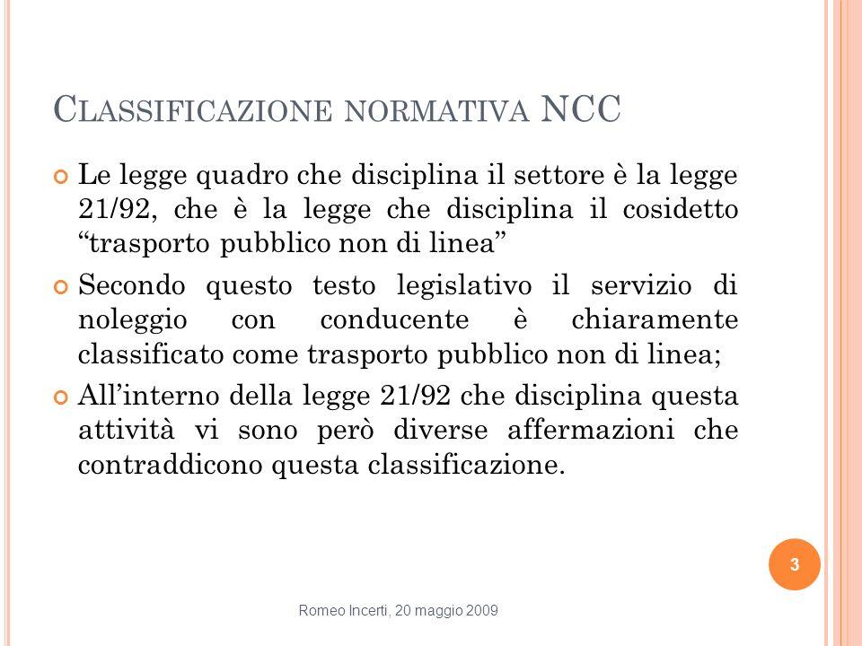 Classificazione normativa NCC