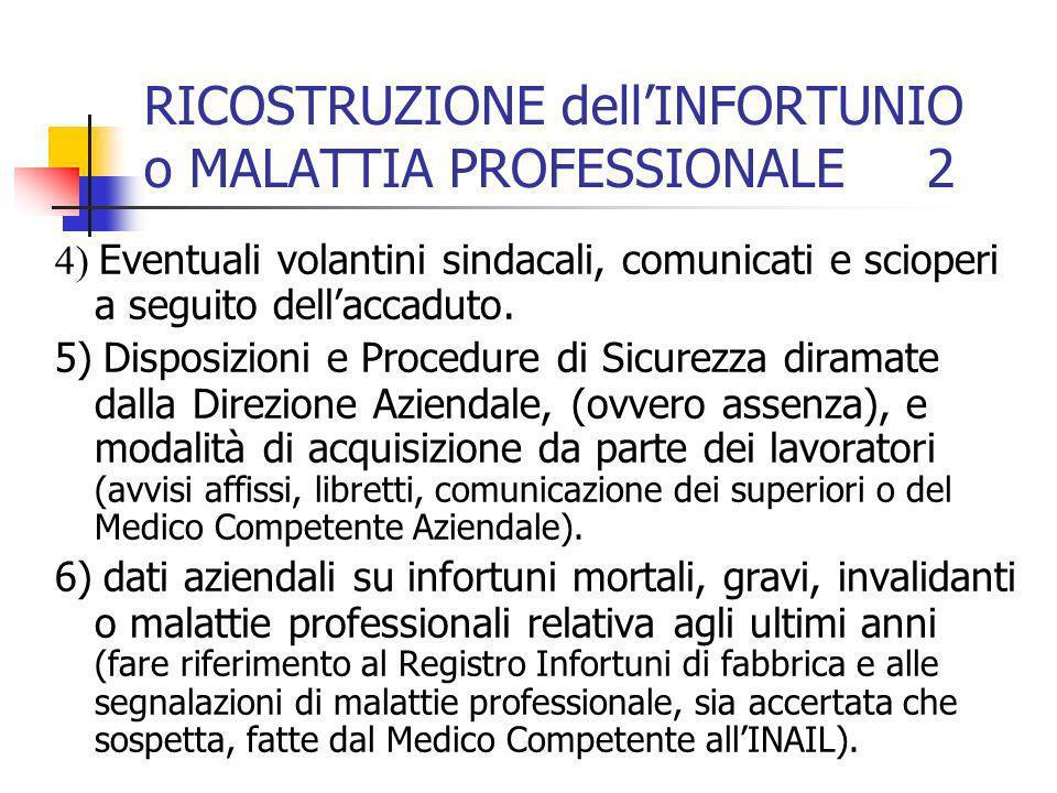 RICOSTRUZIONE dell'INFORTUNIO o MALATTIA PROFESSIONALE 2