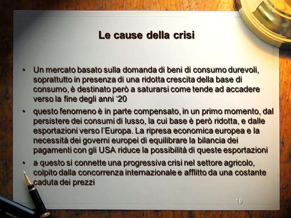 Le cause della crisi
