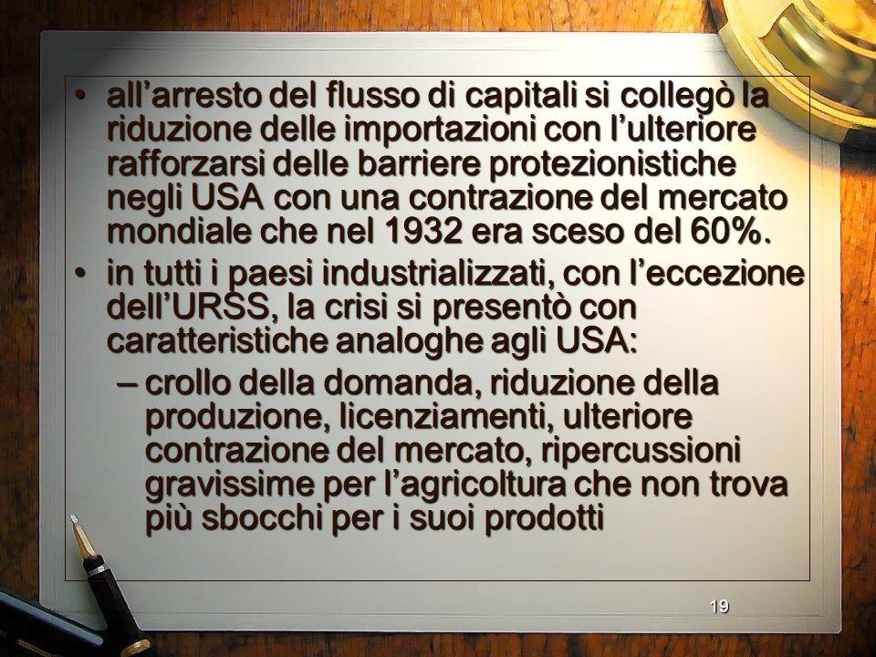 all'arresto del flusso di capitali si collegò la riduzione delle importazioni con l'ulteriore rafforzarsi delle barriere protezionistiche negli USA con una contrazione del mercato mondiale che nel 1932 era sceso del 60%.